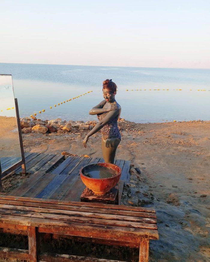 munmun dutta taking a mud bath