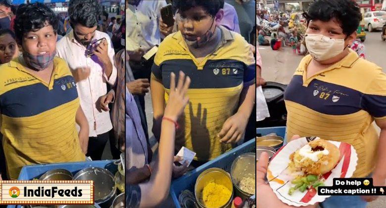 14 years kids selling kachori